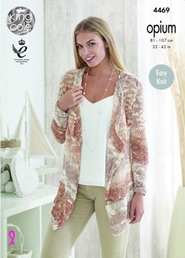 Cardigan and Waistcoat in King Cole Opium and Opium Palette - 4469 - Leaflet