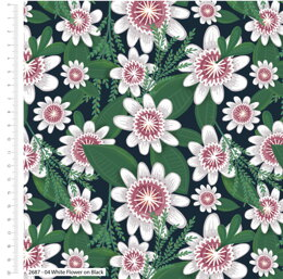 Craft Cotton Company Garden Party - White Flower On Black