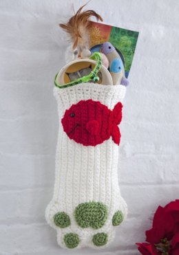 Cat Paws Christmas Stocking in Red Heart Super Saver Economy Solids - LW2626