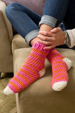 Cozy at Home Crochet Socks in Red Heart With Love Solids - LW3673