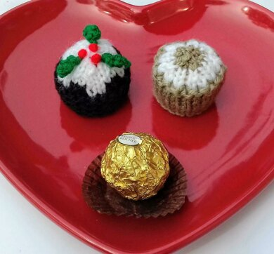 Christmas Knitting Patterns For Ferrero Rocher.Christmas Pudding Mince Pie Festive Chocolate Covers Knitting Pattern By Needles Pins