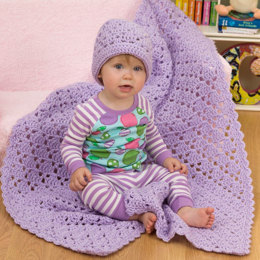 One Ball Baby Blanket and Hat in Red Heart Baby Blankie - LW2315 - Downloadable PDF