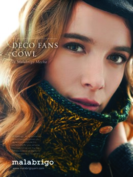 Deco Fans Cowl in Malabrigo Mecha - Downloadable PDF