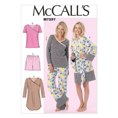 McCall's Misses'/Women's Robe, Belt, Tops, Dress, Shorts and Pants M7297 - Sewing Pattern