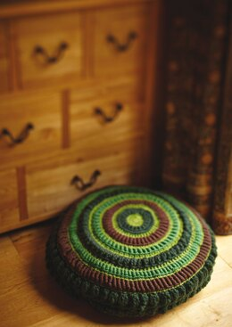 Crochet Round Cushion in Rowan Pure Wool Worsted and Big Wool - Downloadable PDF