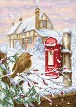 Luca-S Red Mail Box Counted Cross Stitch Kit - 24cm x 34cm