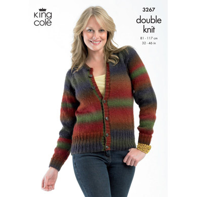 Sweater and Cardigan in King Cole Riot DK - 3267