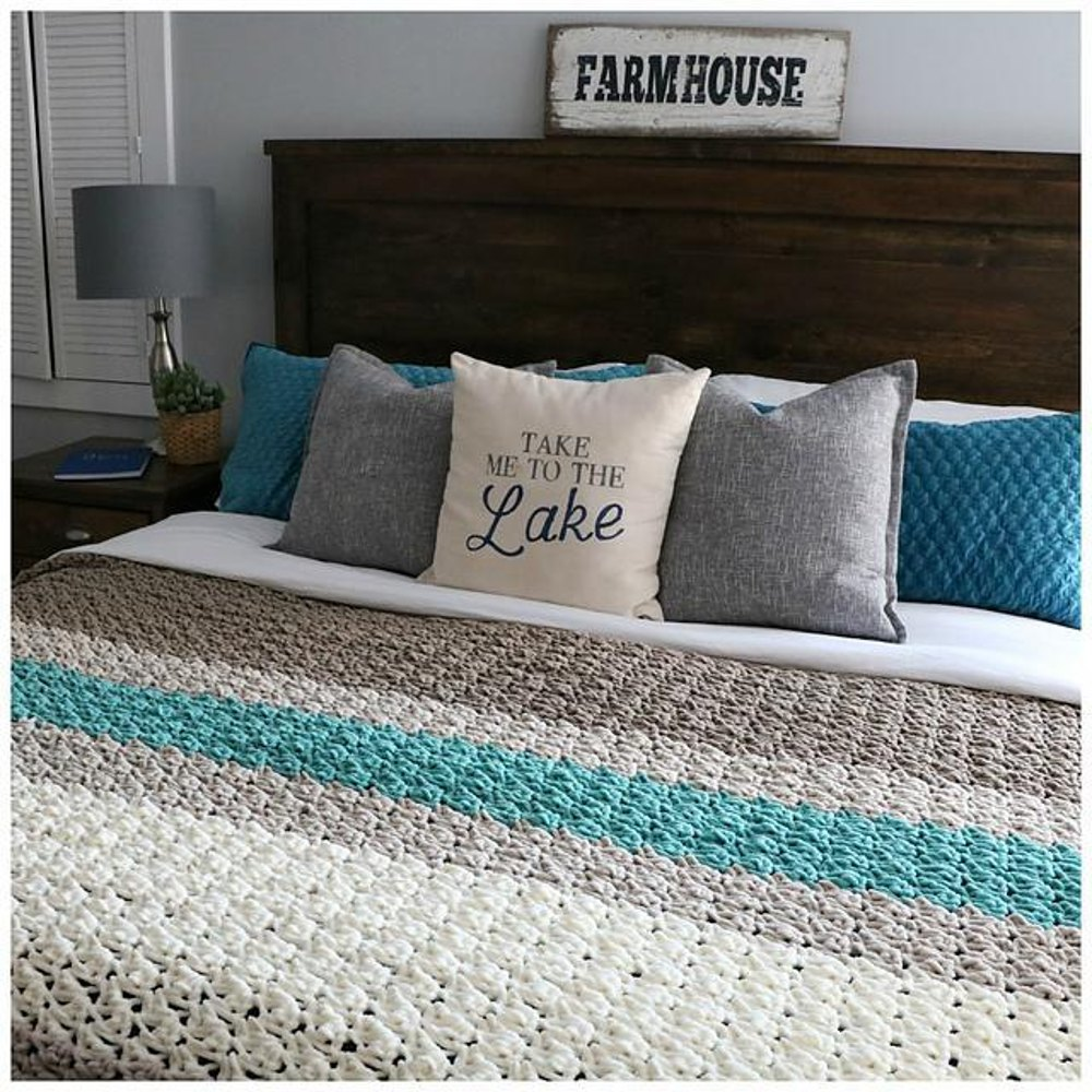 Farmhouse King Size Blanket Crochet Pattern By Mjsoffthehook