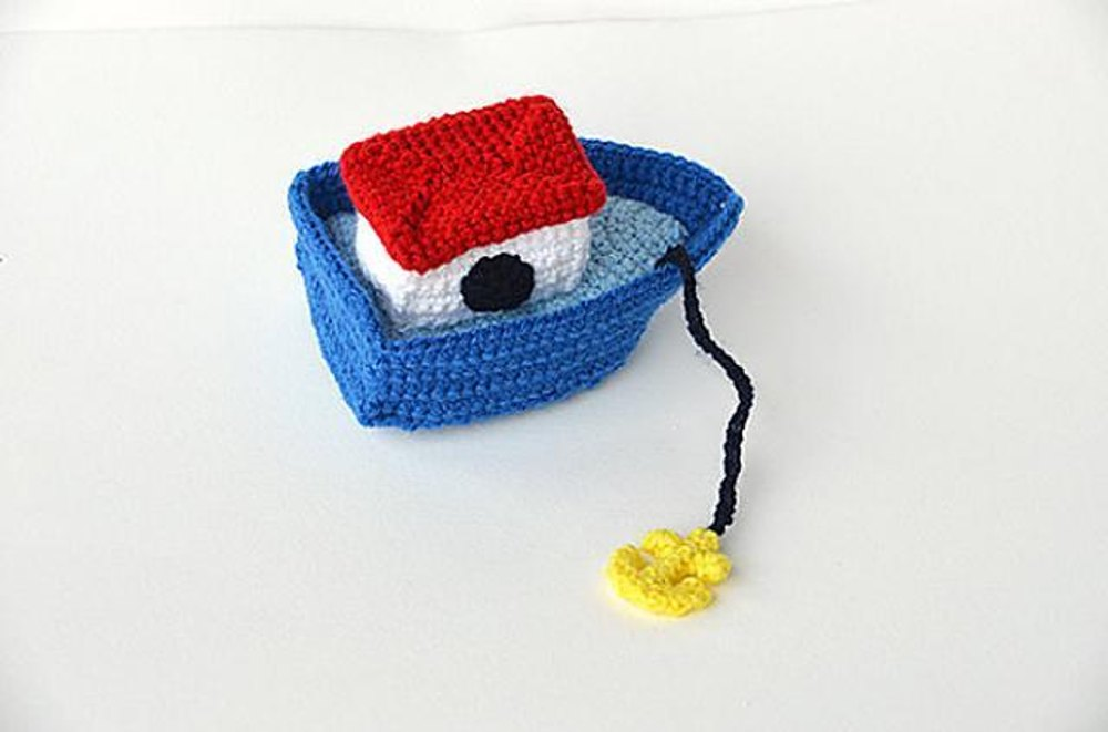 Knitting Pattern For Toy Boat : Little Boat with Anchor - Nautical Amigurumi - Ocean theme Toy - CROCHET PATT...