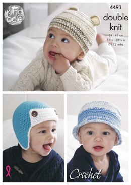 Crocheted Baby Hats in King Cole DK - 4491 - Downloadable PDF