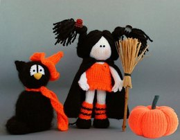 Halloween knitting patterns Sale : Black Cat in the orange Hat, Young Witch and Pumpkin - (knitted round)