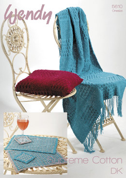 Square Pattern Cushion Cover, Throw, Place Mats & Coasters in Wendy Supreme Luxury Cotton DK - 5610