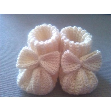 Baby Booties with Bow / Scarpine con fiocco