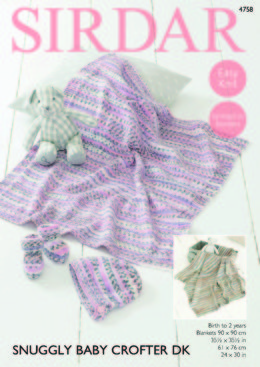 Bonnet Bootees and Blankets in Sirdar Snuggly Baby Crofter DK - 4758 - Leaflet