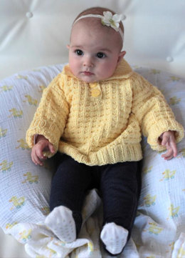 Waffle Knit Baby Polo Sweater in Plymouth Yarn Dandelion - 2252