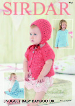 """""""Blanket, Bonnet and Cardigans in Sirdar Snuggly Baby Bamboo DK - 4729  - Downloadable PDF"""""""