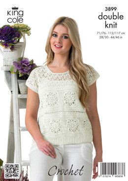 Ladies' Crochet Sweater and Top in King Cole Giza Cotton DK - 3899