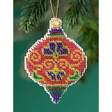 Mill Hill Beaded Holiday - Crimson Cloisonne Beaded Ornaments - 2.5inx3.25in