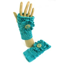 Chunky Flower Fingerless Mitts