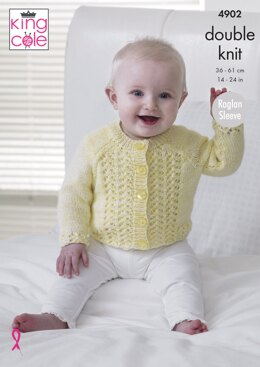 Baby Raglan Cardigans & Sweaters in King Cole Baby Pure DK - 4902 - Downloadable PDF