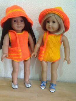 Dolls swimsuit, hat and beach bag