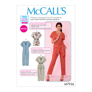 McCall's Misses'/Miss Petite Romper, Jumpsuit and Belt M7936 - Sewing Pattern