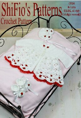 Crochet Pattern baby jacket, hat & booties, UK & USA Terms #280