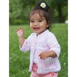 Pretty Kiddy Cardigan in Bernat Baby Coordinates Ombres