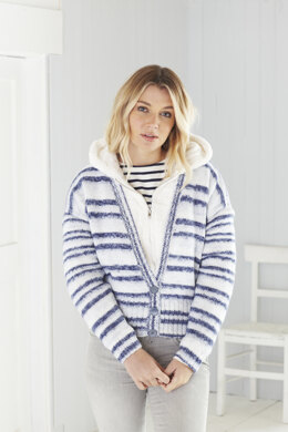 Ladies Long Cardigan, Short Cardigan, and Cowl in King Cole Stripe DK in King Cole - 5596
