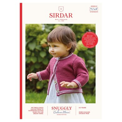 Two Colour Round Neck Cardigan in Sirdar Snuggly Baby Cashmere Merino DK - 5248 - Downloadable PDF