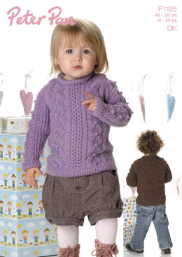 Bobble & Cable Sweater in Peter Pan DK 50g - 1125