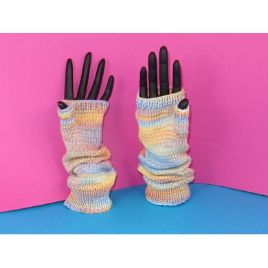 Self Striping Fingerless Slouch Gloves