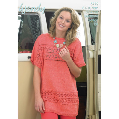 Lace Panel Top in Wendy Supreme Cotton DK - 5772