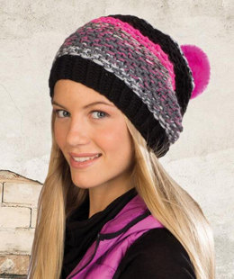 Pompom-Hat in Schachenmayr Boston Mix - Downloadable PDF