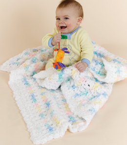 Crochet Contented Baby Blankie in Red Heart Baby Clouds Solids and Baby Clouds Multis - LW1601 - Downloadable PDF
