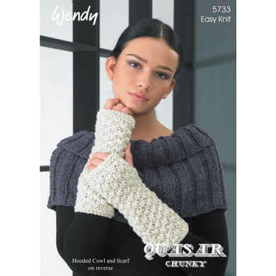 Scarf Wrist Warmers Neck Warmer And Hooded Cowl In Wendy Quasar