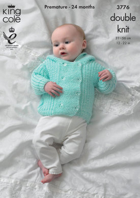 Jacket, Sweater Hat and Mittens in King Cole Baby Glitz DK - 3776