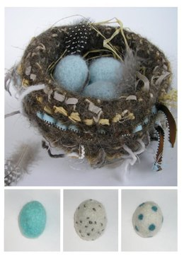 Felted Woolly Nest & Eggs