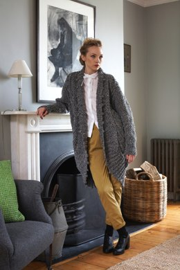 """""""Curved Edge Coat"""" - Coat Knitting Pattern For Women in Debbie Bliss Luxury Tweed Chunky - TFT03"""