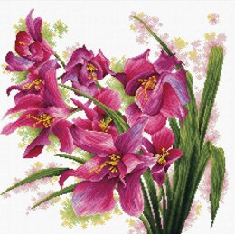 Needleart World Lovely Orchids No-Count Cross Stitch Kit - 39cm x 39cm