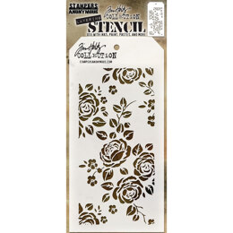 "Stampers Anonymous Tim Holtz Layered Stencil 4.125""X8.5"" - Roses"
