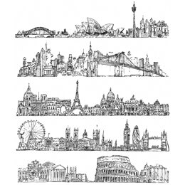"""Stampers Anonymous Tim Holtz Cling Stamps 7""""X8.5"""" - Cityscapes"""