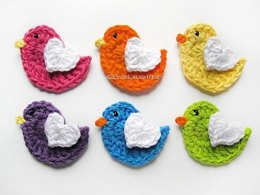 Bird Applique with Heart Wing