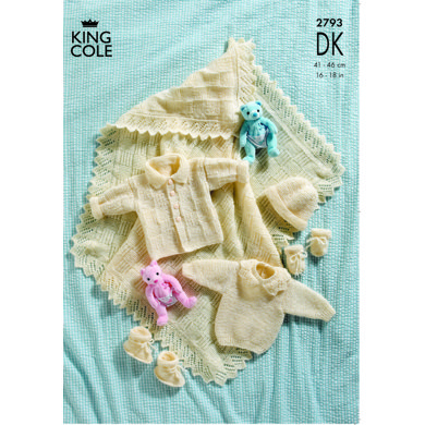 Shawl and Layette in King Cole Big Value Baby DK - 2793
