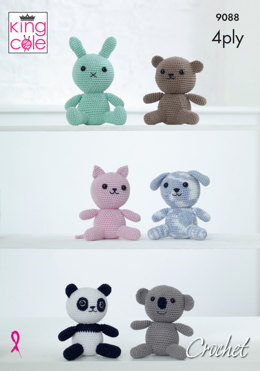 Amigurumi Animal Toys in King Cole Giza 4ply Cotton & Giza Cotton Sorbet - 9088 - Leaflet