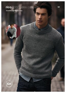 Classic Roundneck Sweaters in Rico Essentials Soft Merino Aran - 646 - Downloadable PDF