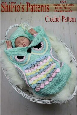 245- Owl Cocoon Baby Crochet Pattern UK & USA Terms #245
