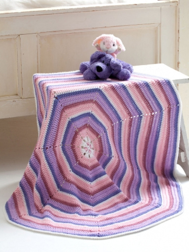 Octagon Baby Blanket In Caron Simply Soft Downloadable Pdf