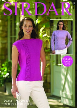 Long Sleeved and Sleeveless Tops in Sirdar Wash'n'Wear Double Crepe DK - 7940 - Leaflet