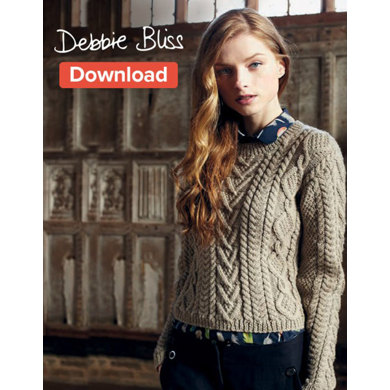 Cable Panelled Sweater in Debbie Bliss Blue Faced Leicester Aran